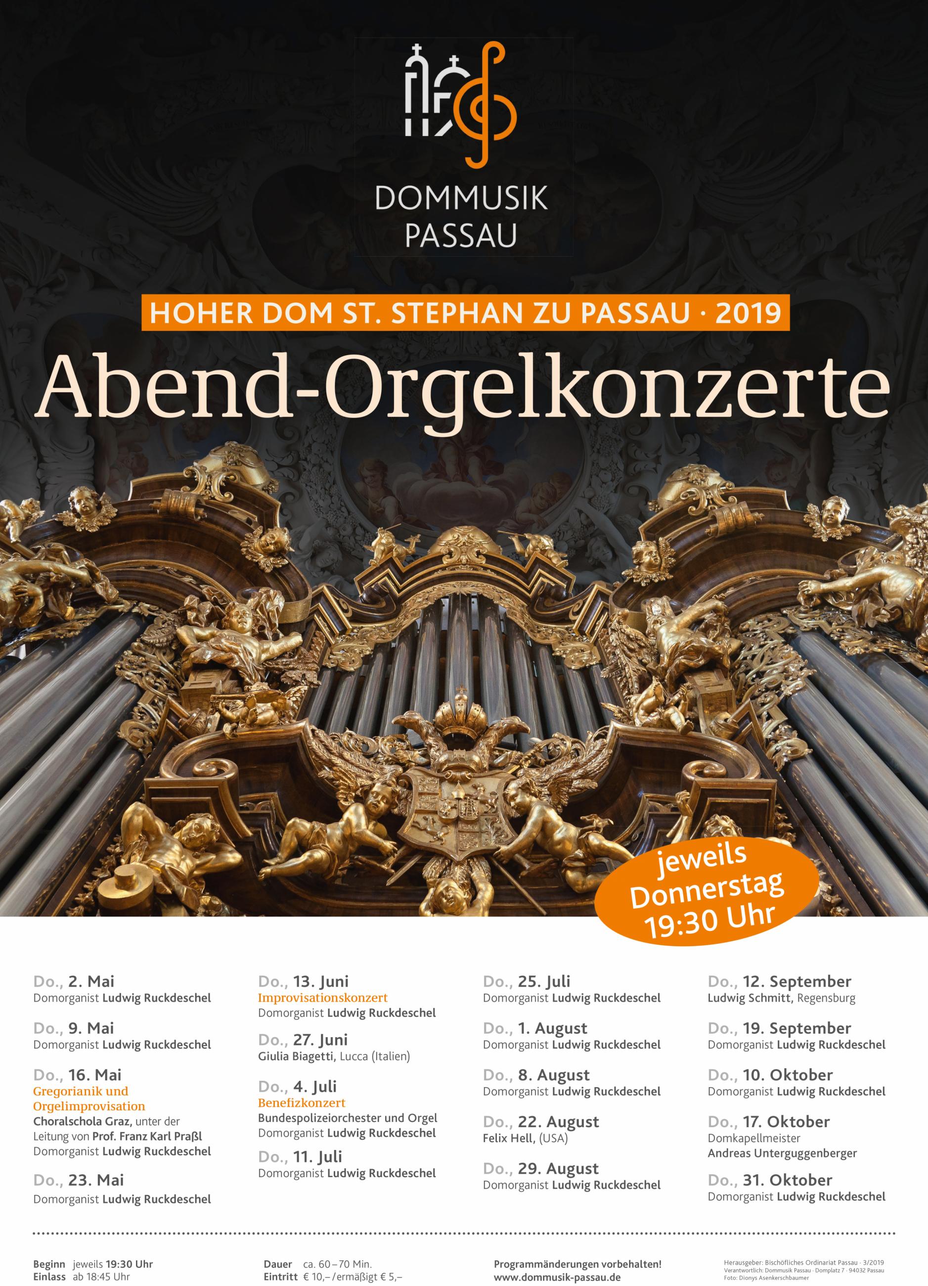 Plakat Abend-Orgelkonzerte 2019