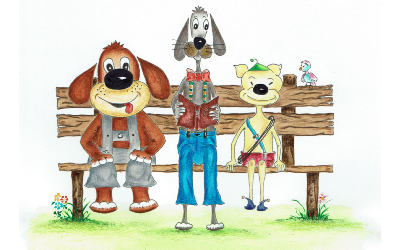 3 Hunde Ausmalbild farbig