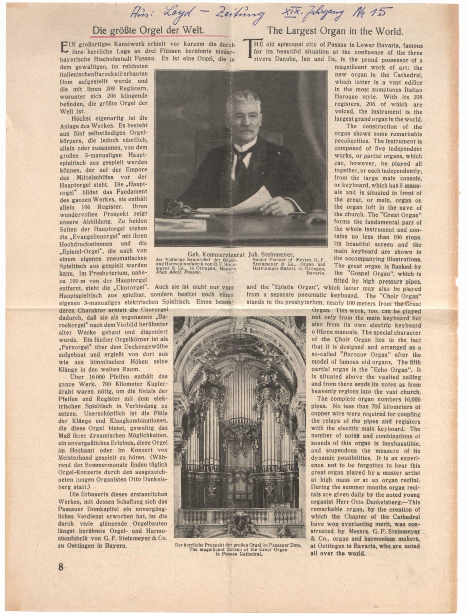 Archiv Bistum Passau Artikel Pester Loyd Zeitung