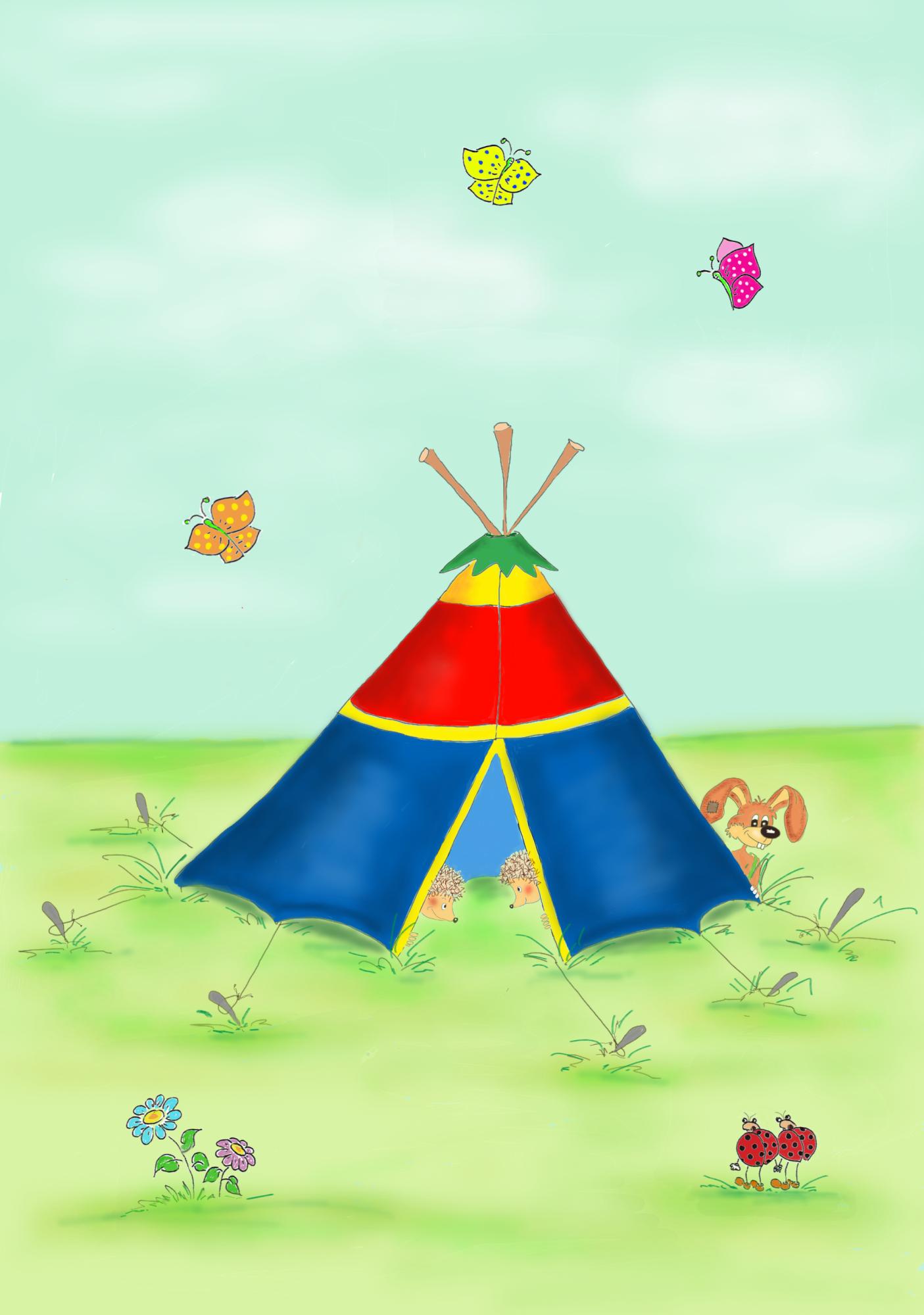 Angsthase Liebezeit beim Zelten - Ausmalbild