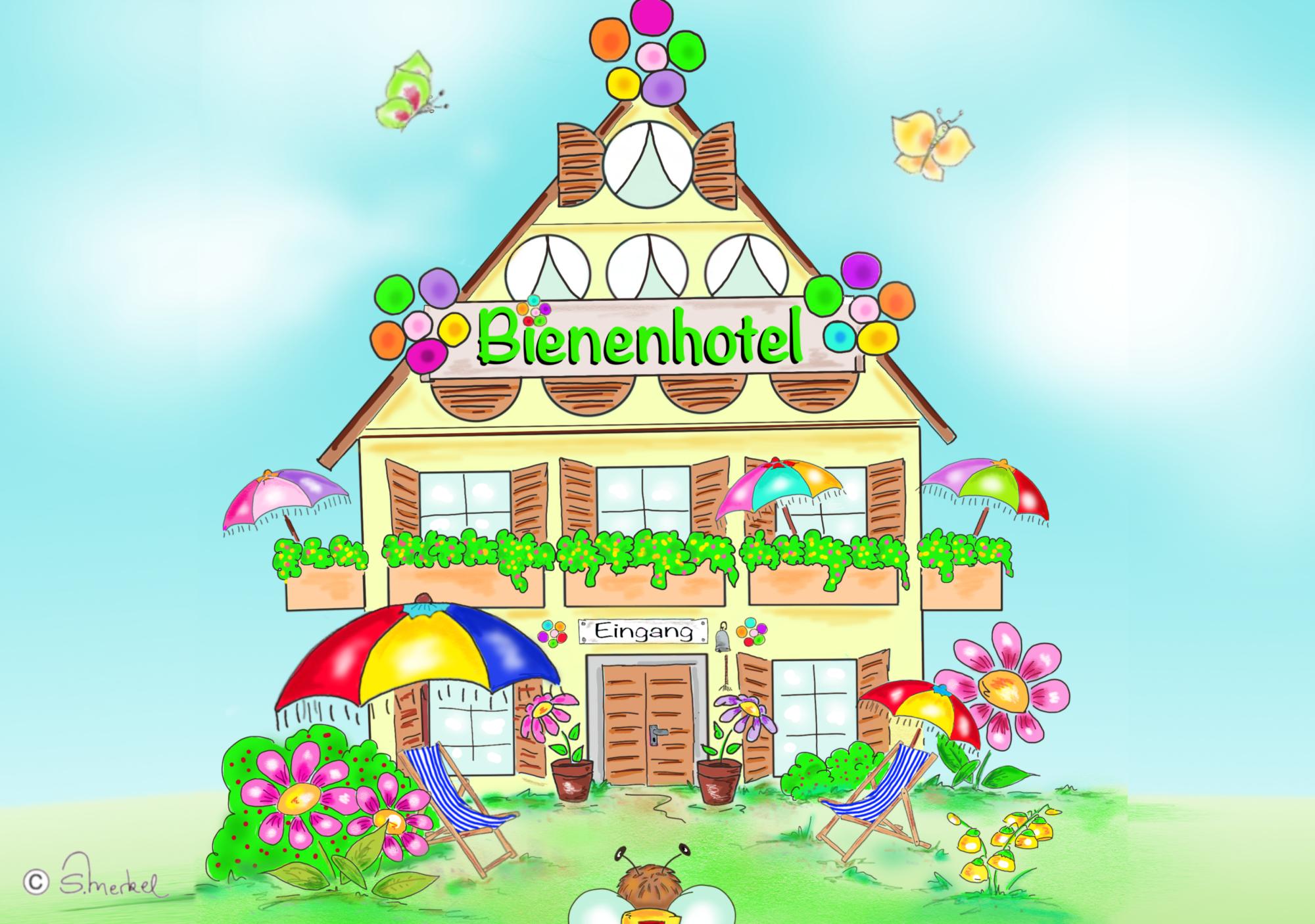 Bienenhotel Ausmalbild farb