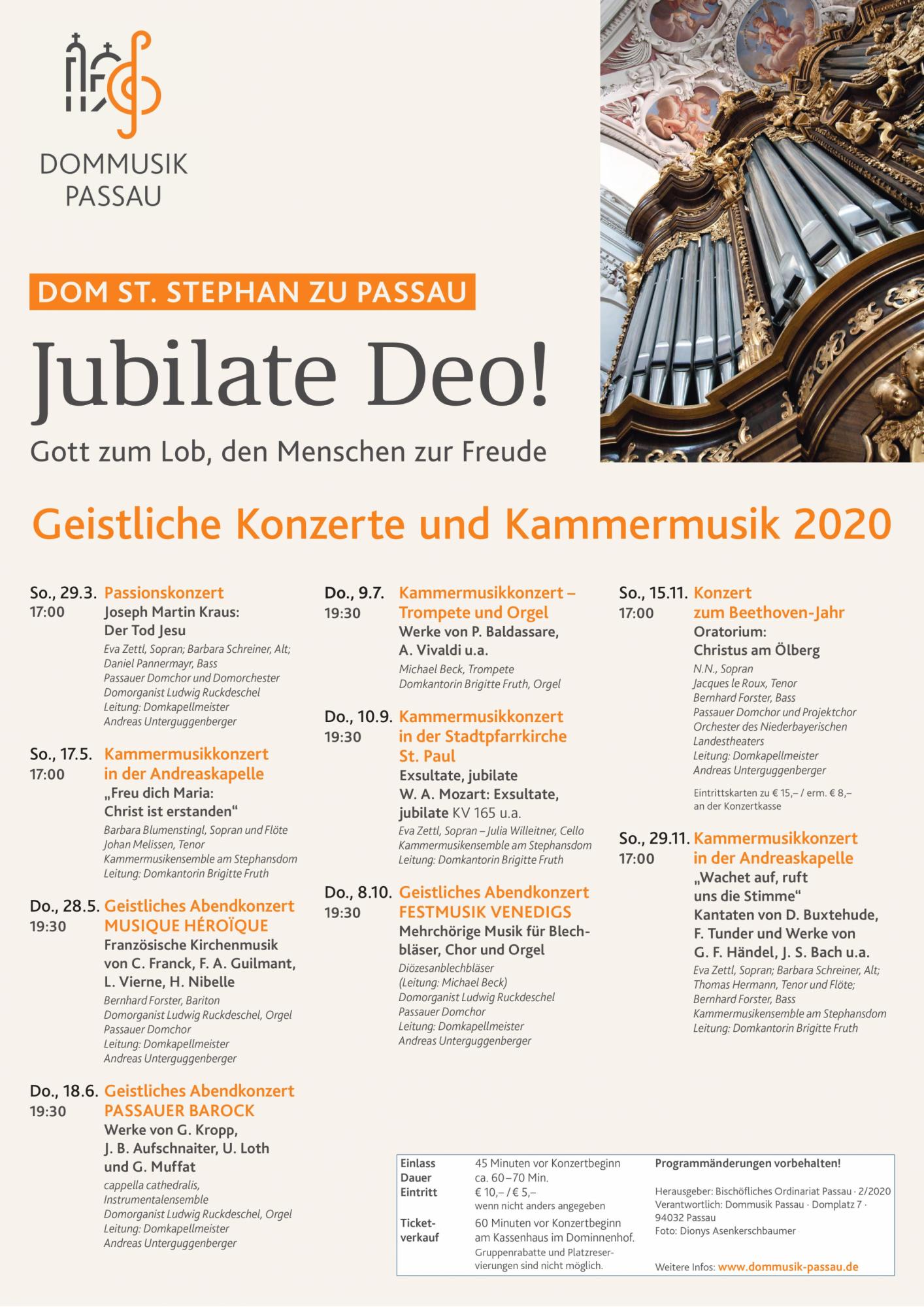 Dommusik 2020 Geistliche Konzerte Plakat 1