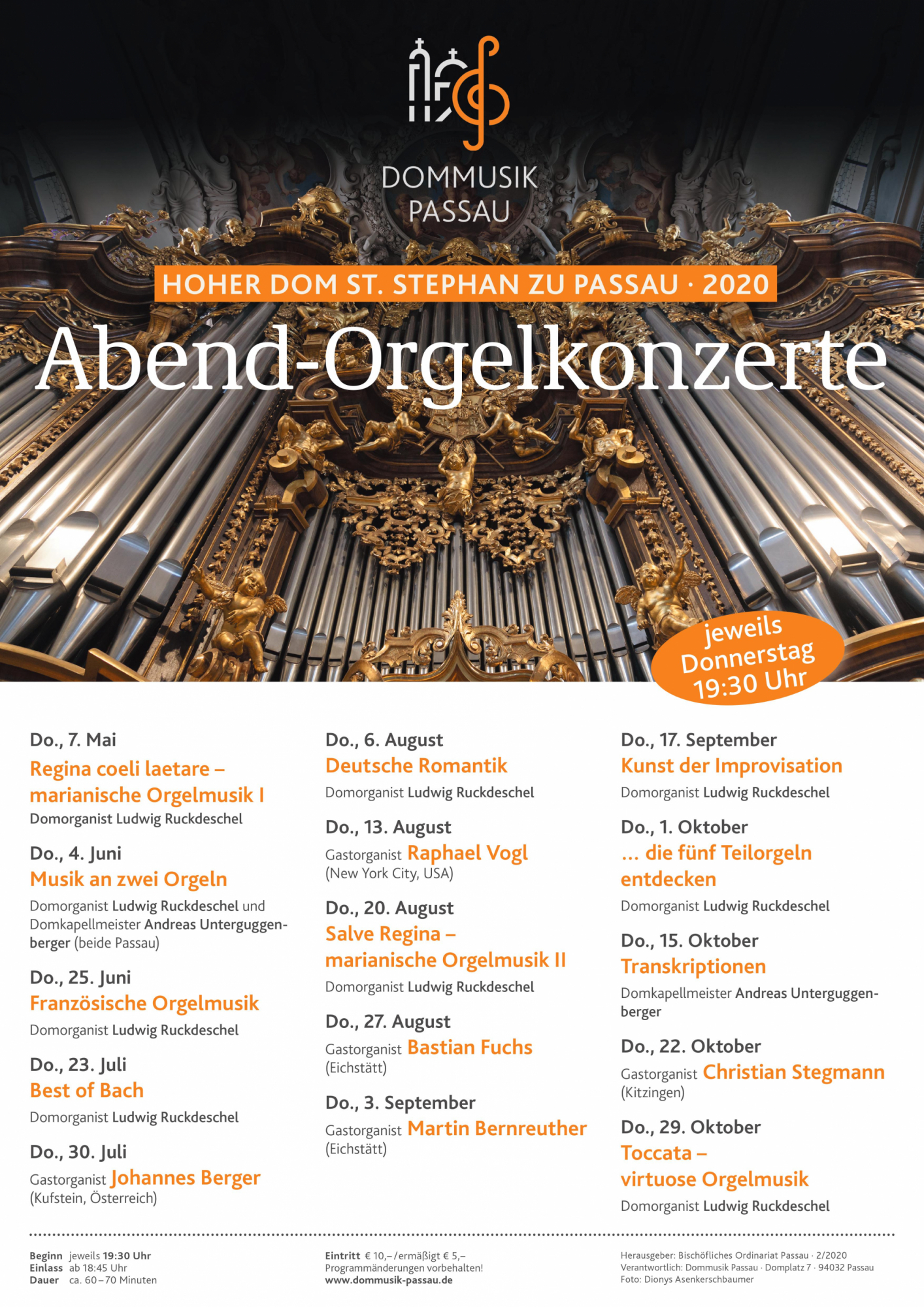 Dommusik 2020 Orgelkonzerte Plakat
