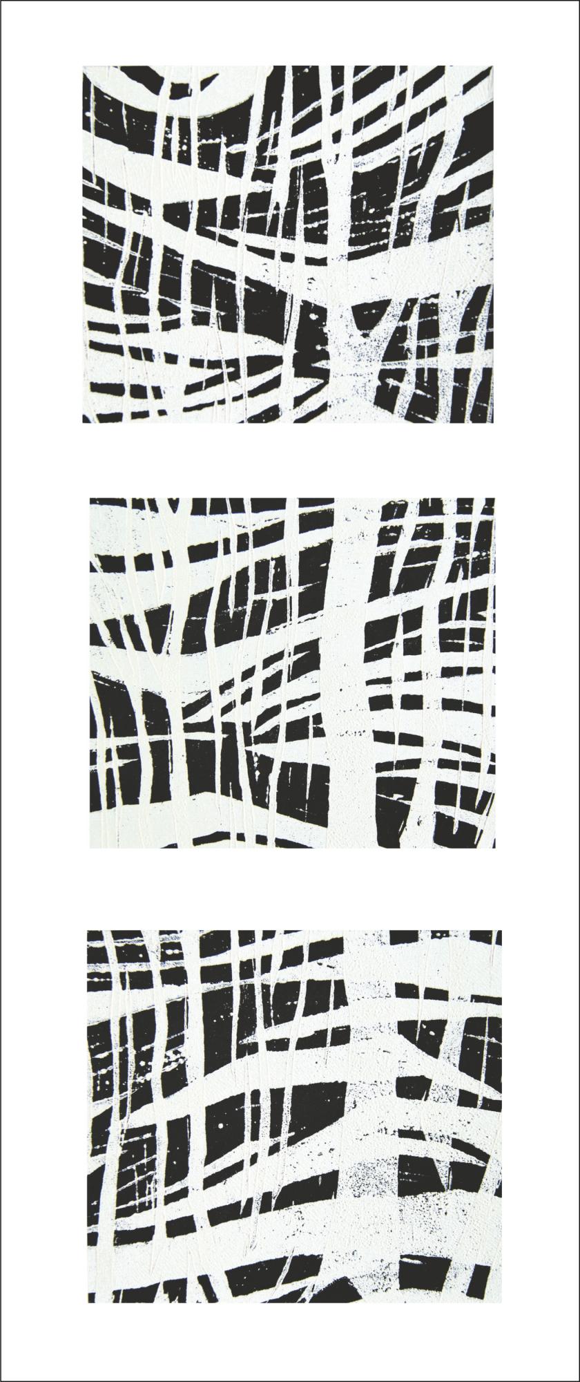 Dreiteiliger Linolschnitt
