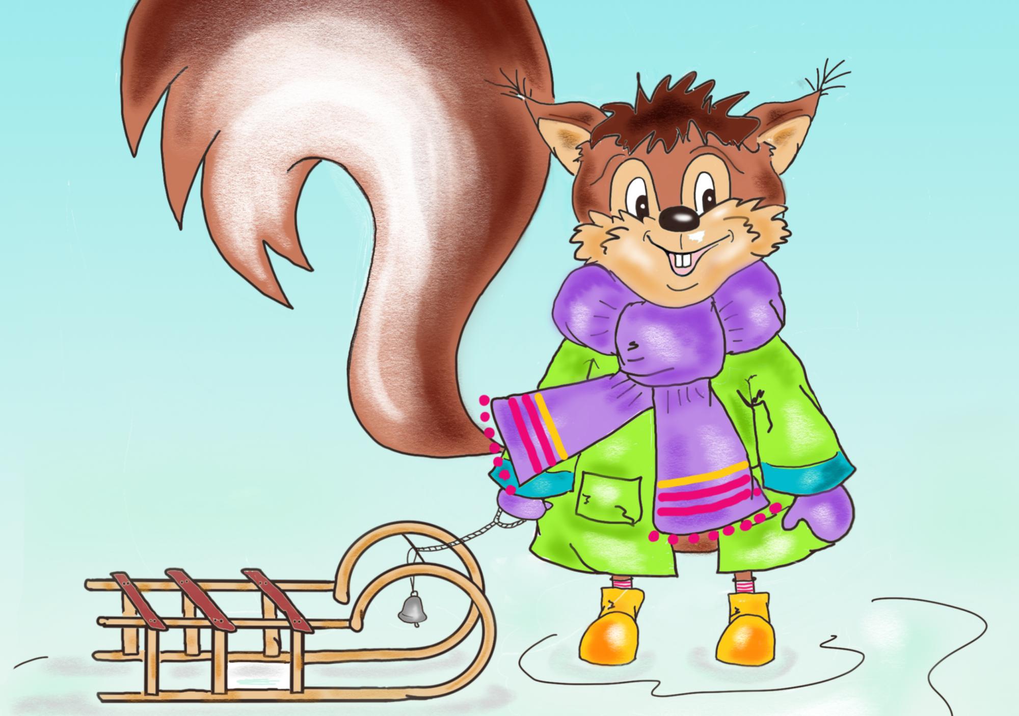 Eichhörnchen Ausmalbild farbig