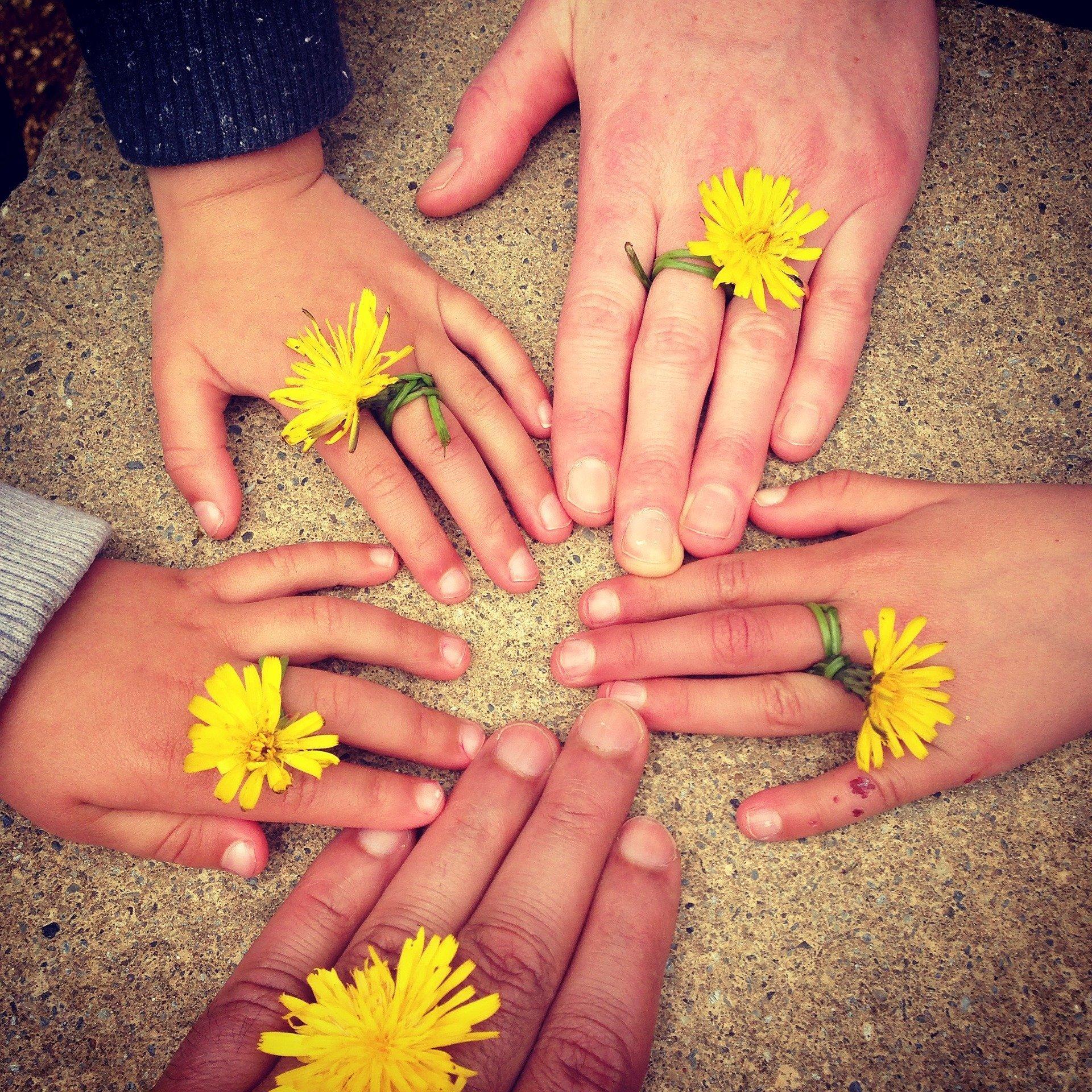 Familie Hände