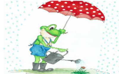 Frosch im Regen Ausmalbild farbig