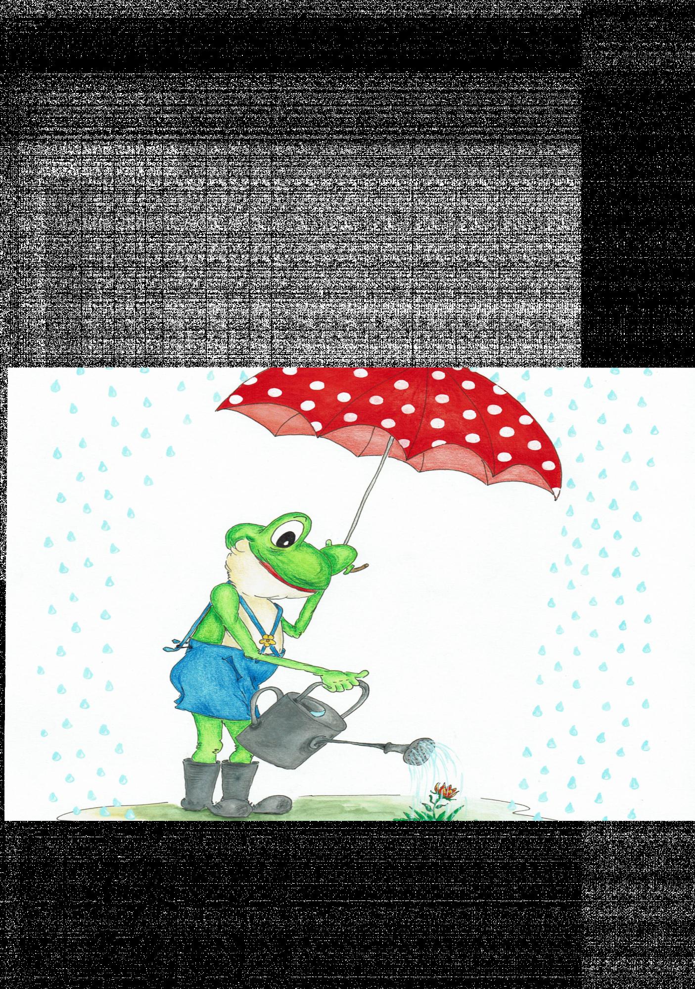 Frosch im Regen Ausmalbild farbig png