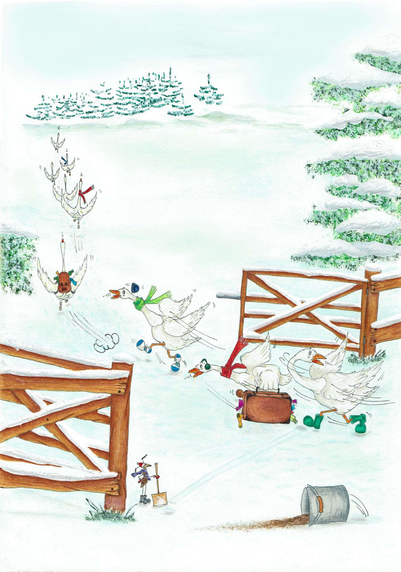 Gänse im Schnee