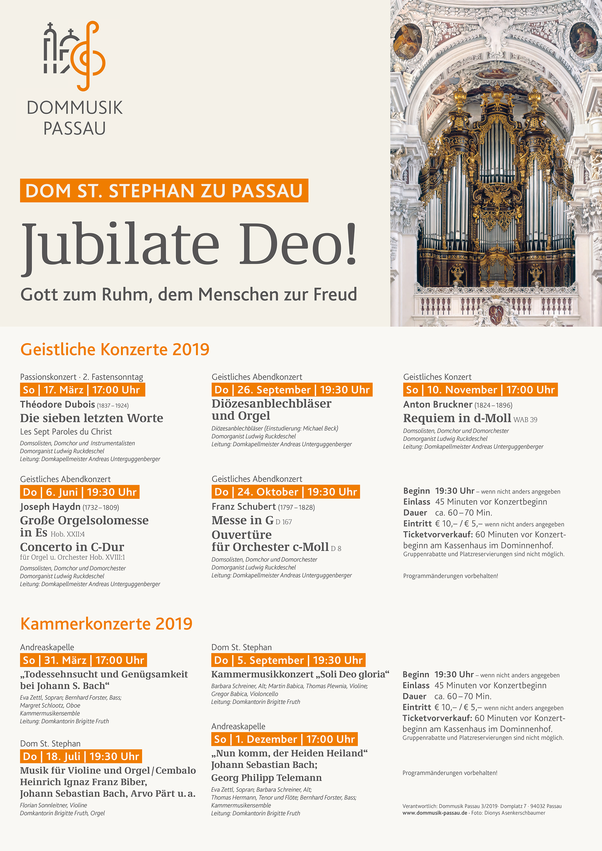 Jubilate Deo! Kammerkonzerte 2019