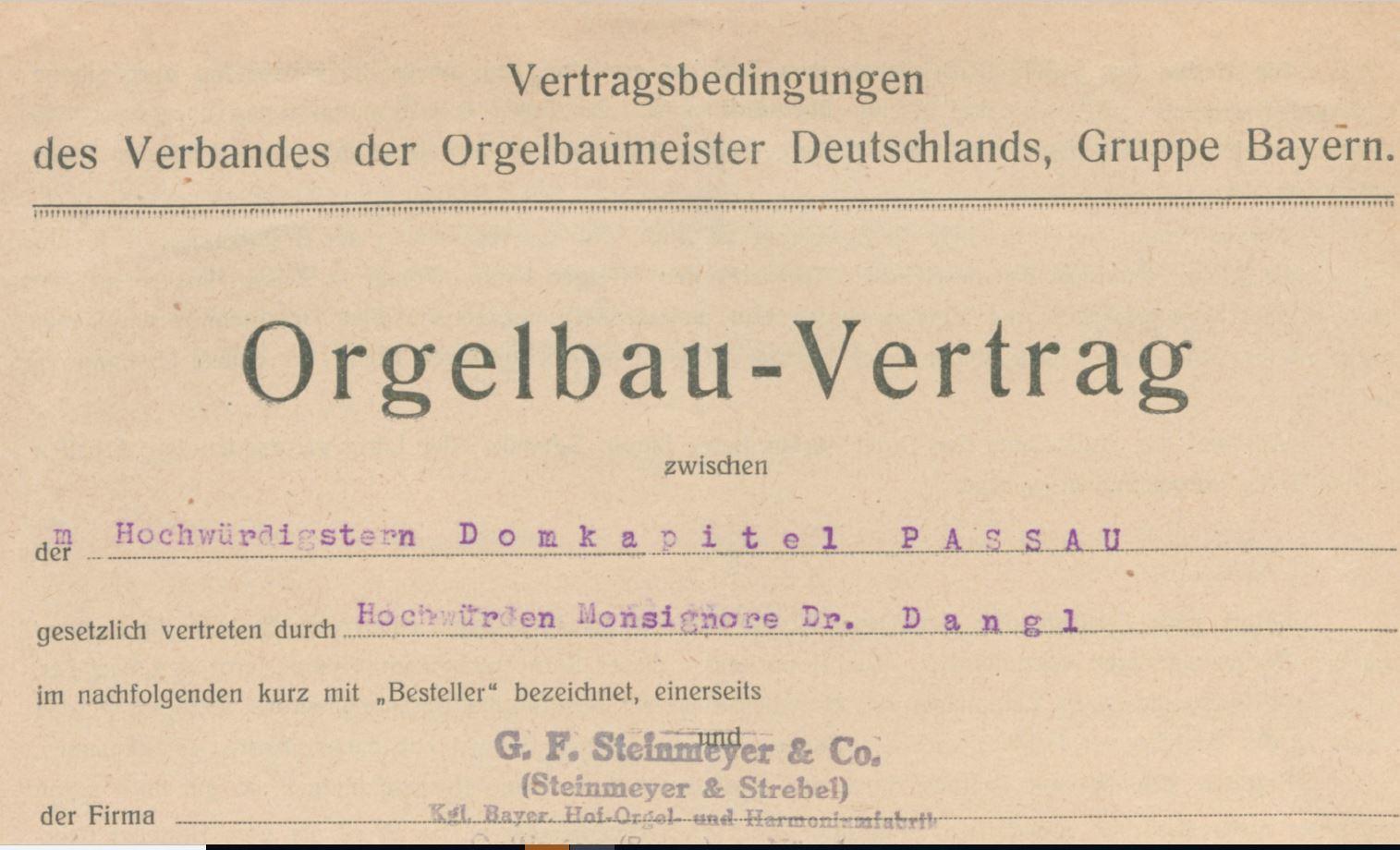 Orgelbauvertrag