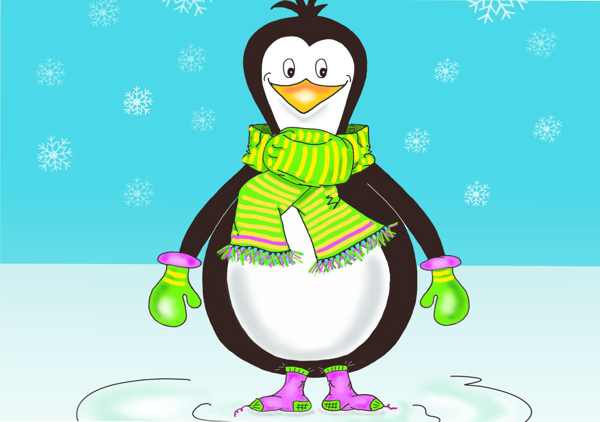 Pinguin Ausmalbild farb