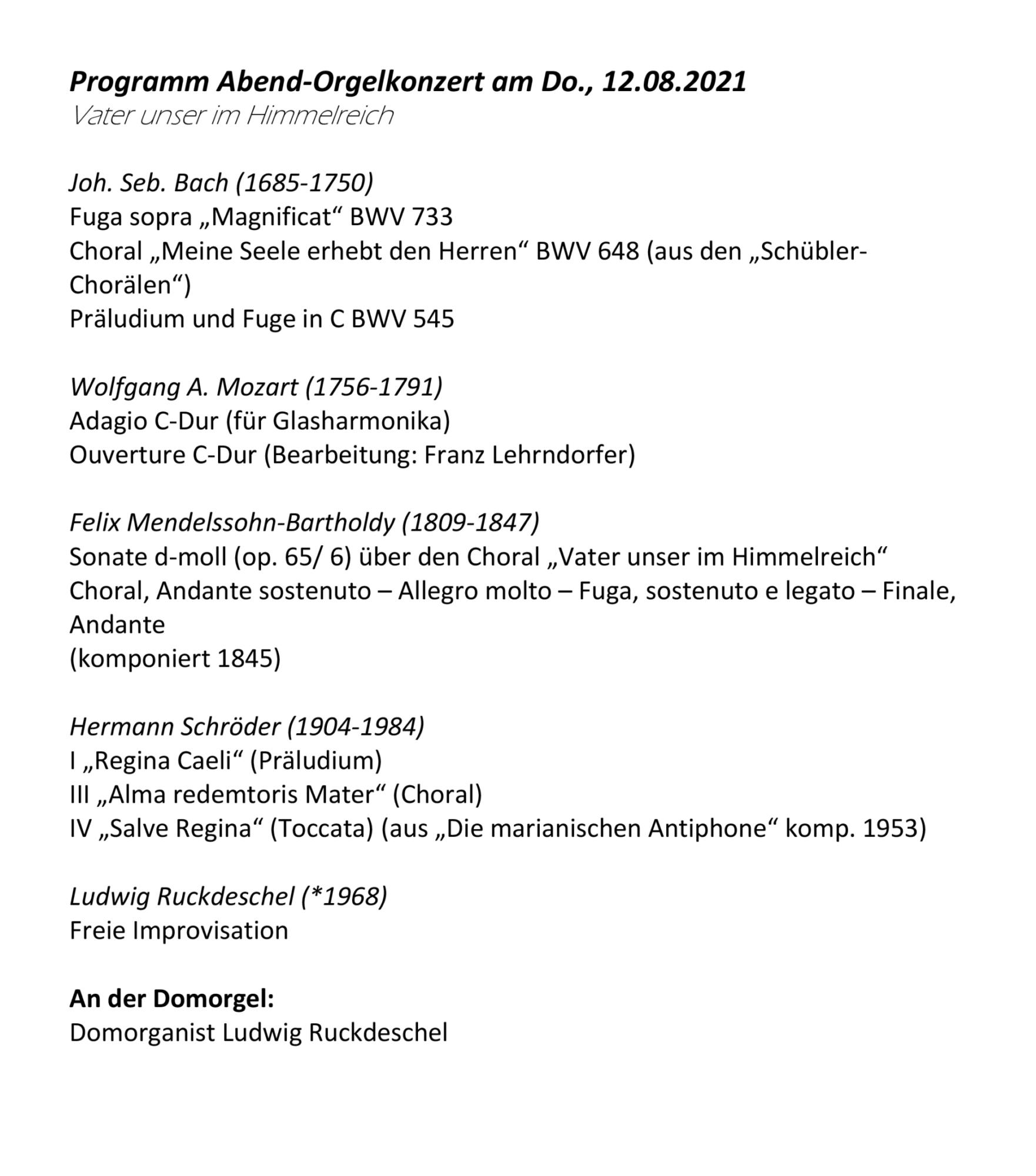 Programm Abendorgelkonzert 12 08 2021