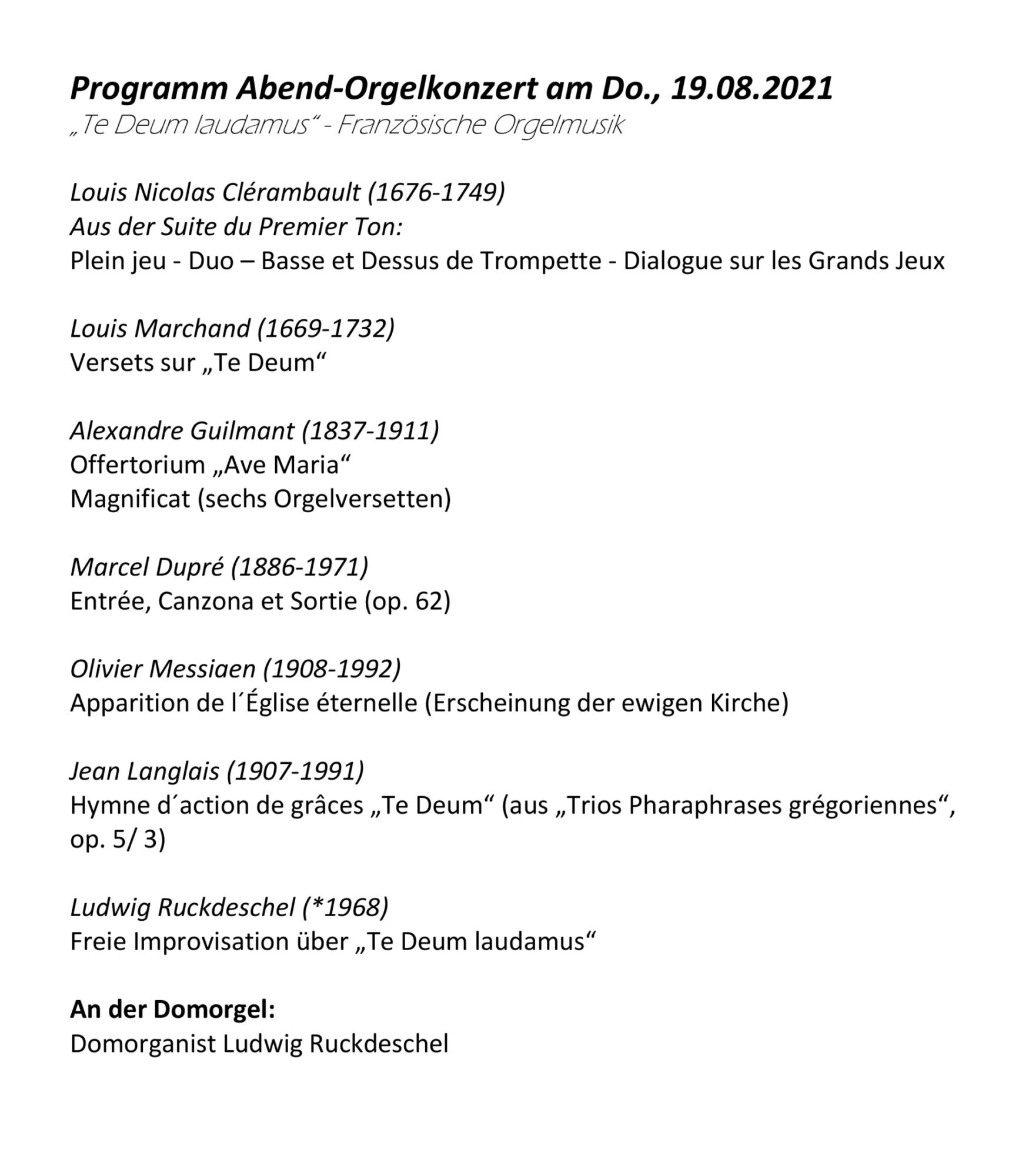 Programm Abendorgelkonzert 19 08 2021