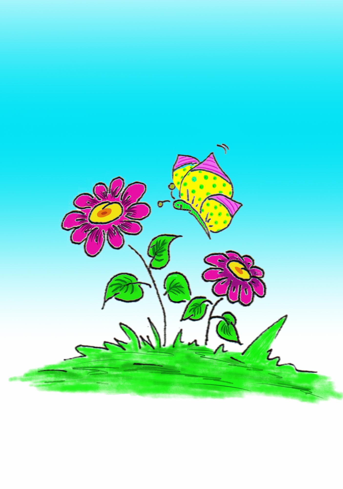 Schmetterling mit Blume und Himmel
