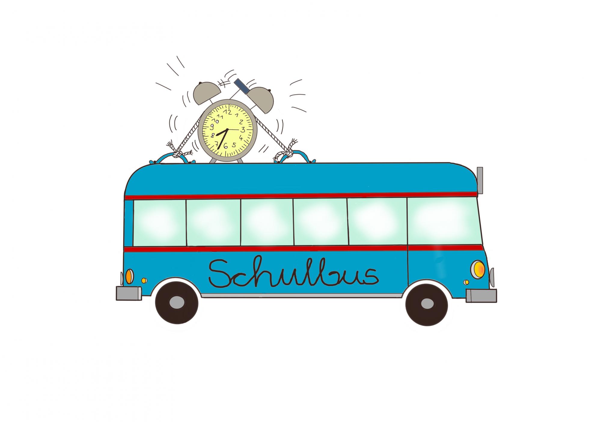 Schulbus Ausmalbild farbig