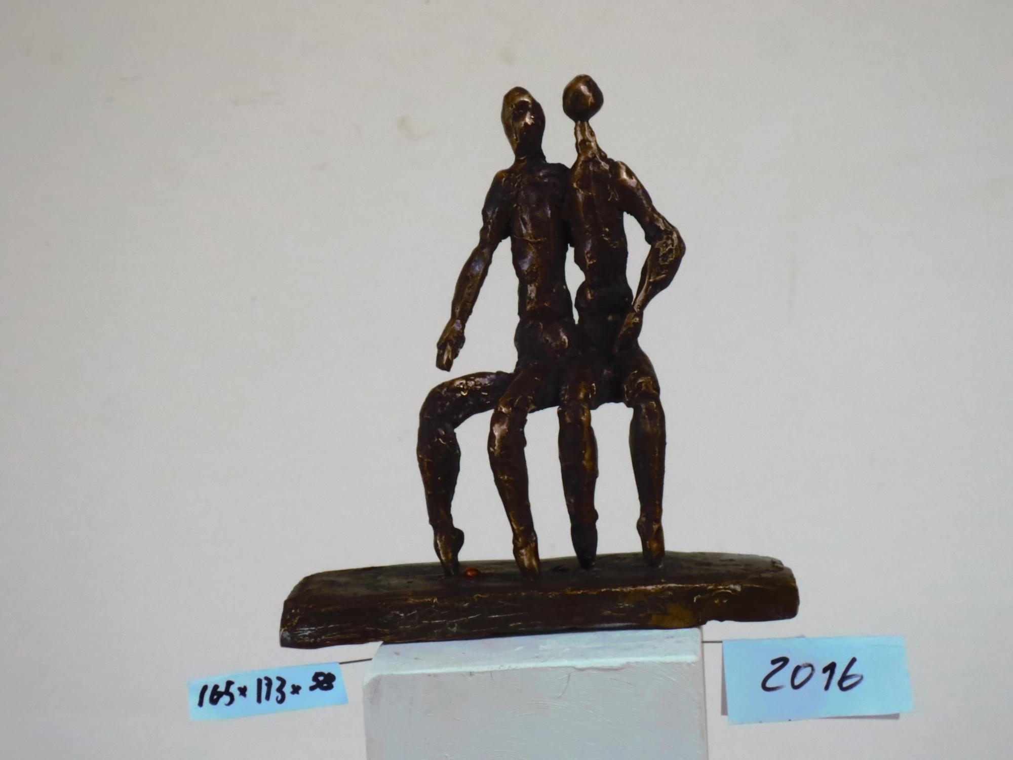 Seidel Alfred 2016 Paar sitzend auf länglichem Sockel