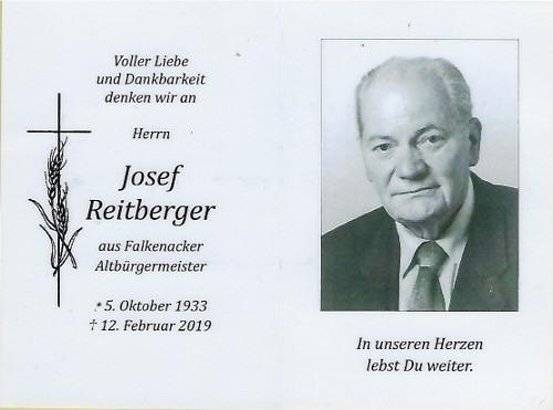 Sterbebild Reitberger Josef 19a