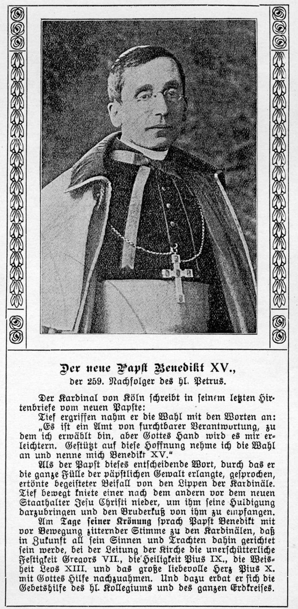 2020 125 jahre aoelfb papst benedikt XV 20sept1914