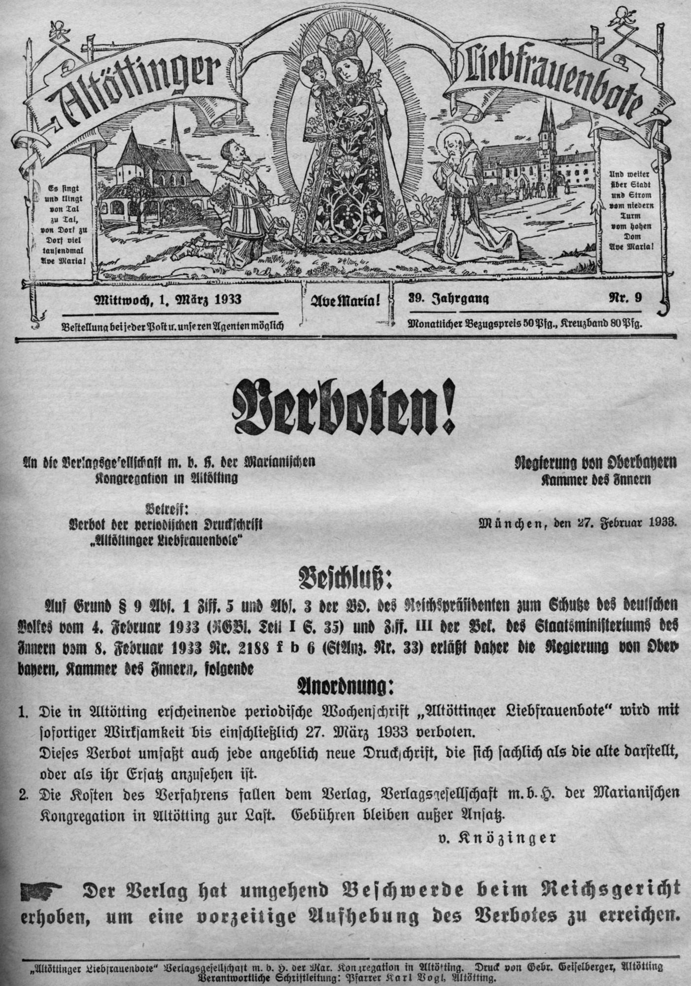 2020 125 jahre aoelfb verboten titel und einzelblatt 1maerz1933