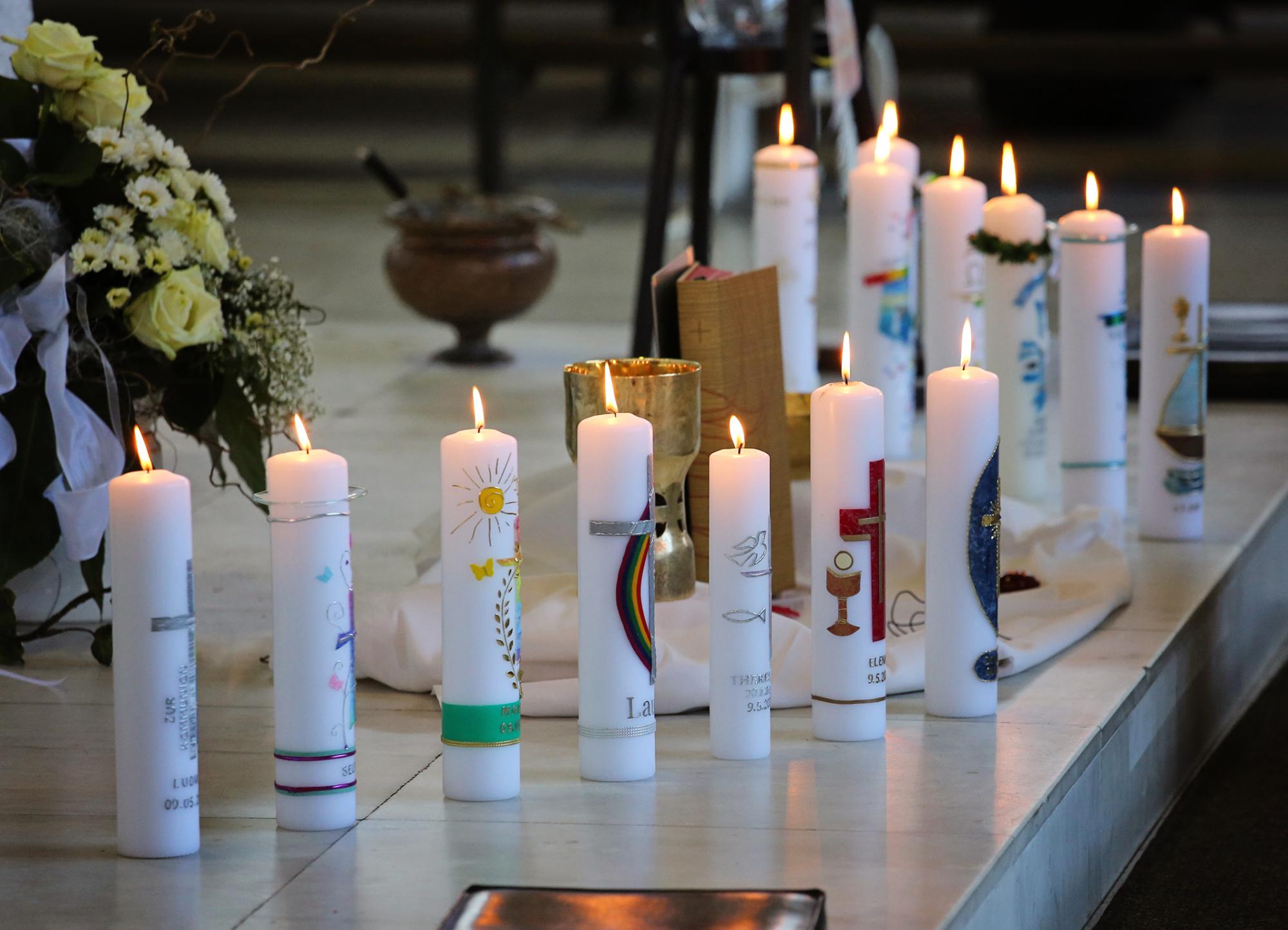 2021 Erstkommunion 3 Kommunionkerzen Dreifaltigkeit