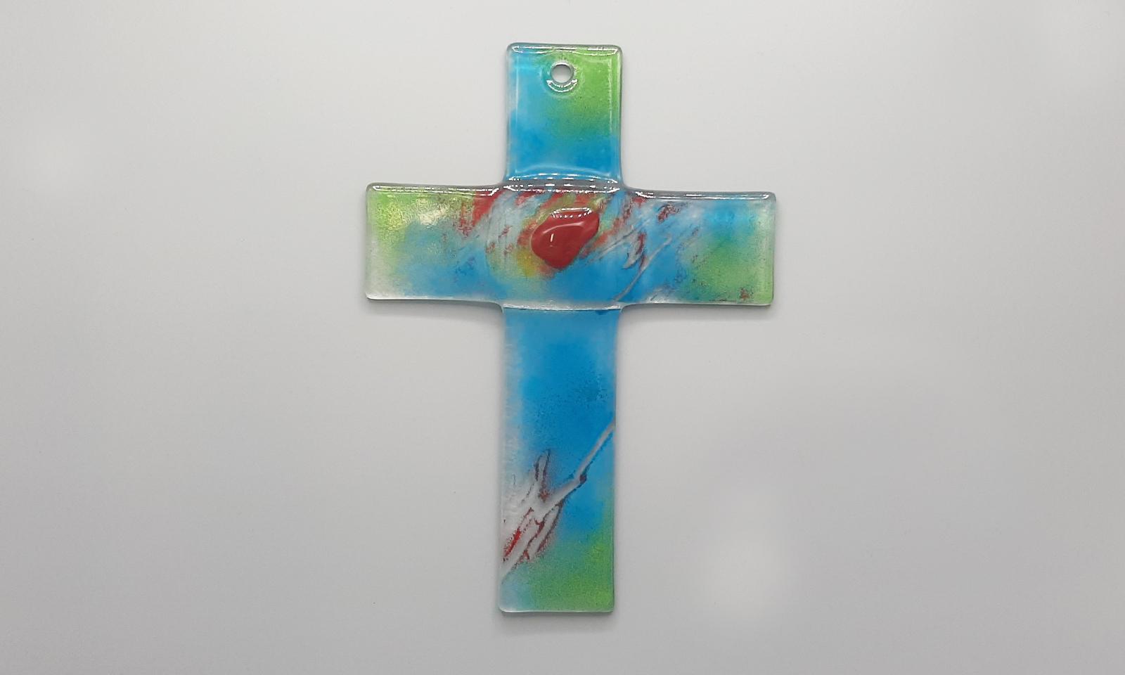 Glaskreuz blau grün rot Totale1